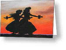 Dancers At Sunset Greeting Card