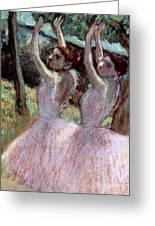 Dancers In Violet Dresses Greeting Card