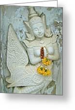 Dancing Aspara At Temple Of The Dawn/wat Arun In Bangkok-thailan Greeting Card