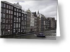 Dancing Houses Damrak Canal Amsterdam Greeting Card