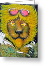 Dancing King Of The Serengeti Discotheque Greeting Card