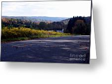 Dancing Leaves On A Country Road Greeting Card