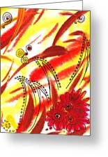 Dancing Lines And Flowers Abstract Greeting Card