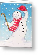 Dancing Snowman Greeting Card by Lavinia Hamer