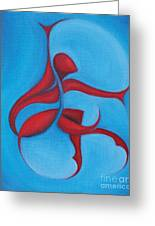 Dancing Sprite In Red And Turquoise Greeting Card