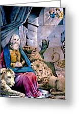 Daniel In The Lions Den Greeting Card by Currier and Ives