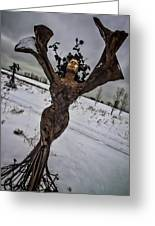 Daphene Sculpture On A Winter Day Greeting Card
