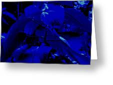 Dark Blue Leaves Greeting Card