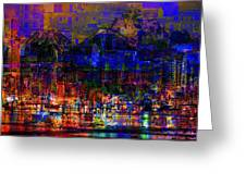 Dark City Lights Cityscape Greeting Card