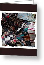 Dark Colored Blocks Patchwork Quilt  Greeting Card