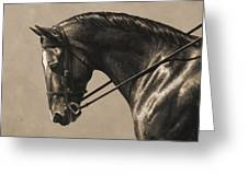 Dark Dressage Horse Aged Photo Fx Greeting Card