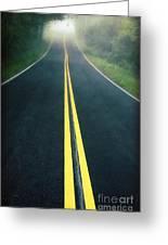 Dark Foggy Country Road Greeting Card by Edward Fielding