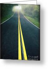 Dark Foggy Country Road Greeting Card