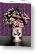 Dark Ink Vase And Flowers Greeting Card
