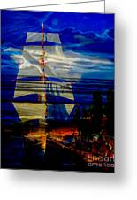 Dark Moonlight With Sails And Seagull Greeting Card