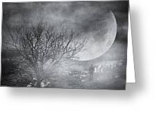 Dark Night Sky Paradox Greeting Card by Taylan Apukovska