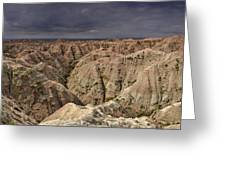 Dark Panorama Over The South Dakota Badlands Greeting Card