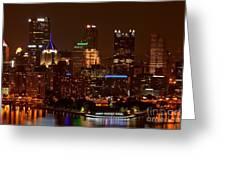 Dark Pittsburgh Skyline Greeting Card