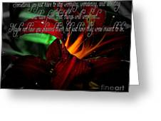 Dark Red Day Lily And Quote Greeting Card