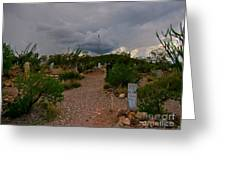 Dark Sky Over Tombstone Greeting Card