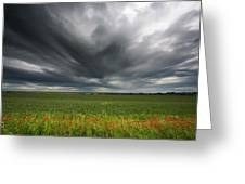 Dark Storm Clouds Over A Field With Red Greeting Card
