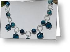 Dark Turquoise Crystal And Faceted Agate Necklace 3676 Greeting Card