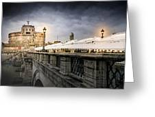 Dark Winter Evening At Castel Sant'angelo - Rome Greeting Card