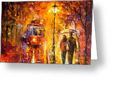 Date By The Trolley - Palette Knife Oil Painting On Canvas By Leonid Afremov Greeting Card