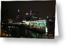 Date Night In Cleveland - From His Window Greeting Card by LCS Art