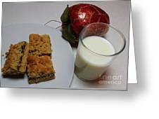 Date Squares - Snack - Dessert - Milk Greeting Card