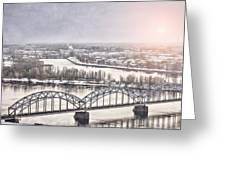 Daugava Railway Bridge Greeting Card