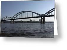 Davenport Skyline And Centennial Bridge Greeting Card