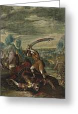 David Beheading Goliath Greeting Card