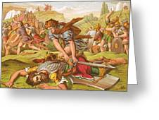 David Slaying The Giant Goliath Greeting Card by English School