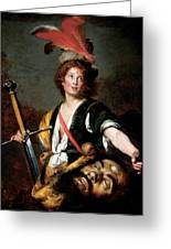 David With The Head Of Goliath, C.1636 Oil On Canvas Greeting Card