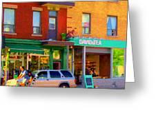 Davids Tea Room Rue St Viateur Next To The Bagel Shop Montreal Street Scene Art Carole Spandau   Greeting Card