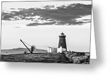 Davit And Lighthouse On A Breakwater Greeting Card