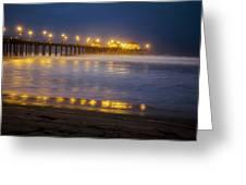 Dawn At Huntington Beach Pier By Denise Dube Greeting Card