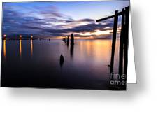 Dawn Breaks Over The Pier Greeting Card