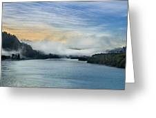 Dawn Fog On Klamath River Greeting Card