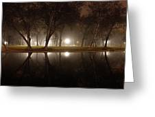 Dawn Mist Rising At Sycamore Pool  Greeting Card