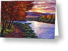 Dawn On The River Greeting Card by David Lloyd Glover