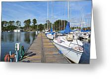 Sailboats On The Boardwalk Greeting Card