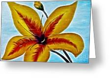 Daylily Expressive  Brushstrokes Greeting Card