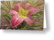 Daylily In Gold Leaf Greeting Card