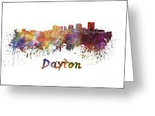 Dayton Skyline In Watercolor Greeting Card