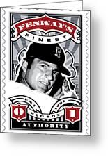 Dcla Carl Yastrzemski Fenway's Finest Stamp Art Greeting Card by David Cook Los Angeles