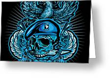 Dcla Skull Airborne All The Way Greeting Card