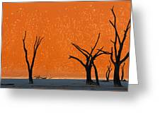 Dead Trees By Red Sand Dunes, Dead Greeting Card