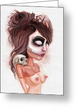 Deathlike Skull Impression Greeting Card